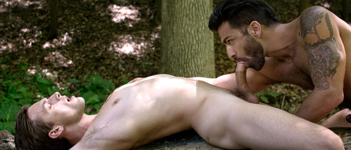 Cockyboys Adam Ramzi Tayte Hanson gay sex in woods outdoor fuck hairy men uncut cock feat
