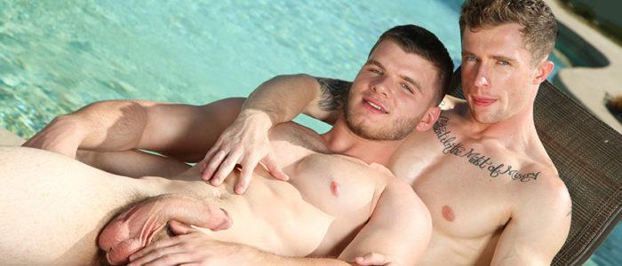 NextDoorStudios outdoor gay sex Markie More Ivan James closeups blow job male feet face feat