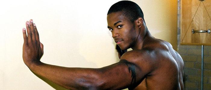 NextDoorEbony Houston Black muscular jock gay solo masturbation scene black male feet shower steam room feat