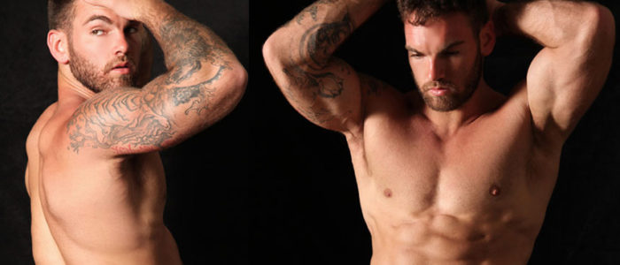 PARAGONMEN Hunter CA Gay Porn Solo Photoshoot & Masturbation scene Muscle Hunk tattoo feat